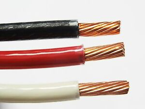 75' EA THHN THWN 6 AWG GAUGE BLACK WHITE RED STRANDED COPPER  BUILDING WIRE