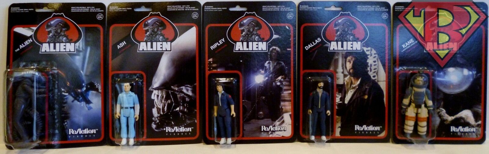 Alien 1979 Movie 3 3 4  Pouces RéAction Action  Figure Set of 5 Super 7 Funko 2013  dans les promotions de stade