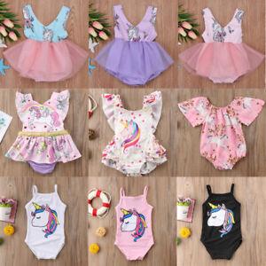 4e7c4f961ae3 Details about Cute Newborn Baby Girls Unicorn Romper Dress Jumpsuit  Bodysuit Clothes Outfit