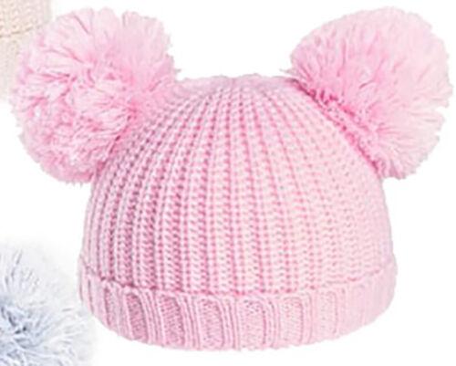Baby 2 Pom Pom en tricot pompon chapeau garçon fille nouveau-né 3 mois baby cap