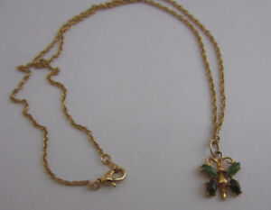 Stone-Butterfly-Pendant-Necklace-Gold-tone-Rope-Twist-Chain-17-5-034-Green-Fashion