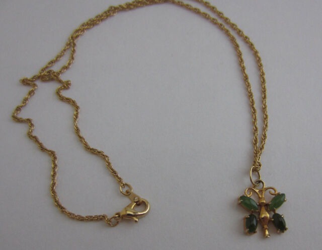 Stone Butterfly Pendant Necklace Gold-tone Rope Twist Chain 17.5