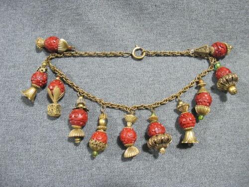 Antique Chinese flowers cinnabar goldtone lanterns