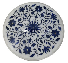 """18"""" White Marble Side Coffee Table Top Rare Lapis Marquetry Garden Decor H929"""