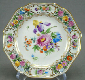 Carl-Thieme-Dresden-Hand-Painted-Reticulated-Floral-amp-Gold-Bread-Plate-J