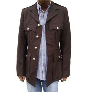 online shop great prices official images Détails sur Homme Marron Vintage-Manteau Blazer Bande Robe Veste uniforme  military tunique Festivals- afficher le titre d'origine