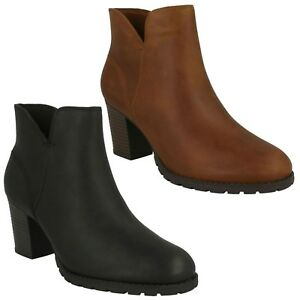 95a79c23 Details about VERONA TRISH LADIES CLARKS ZIP UP LEATHER HEEL CASUAL CUSHION  SOFT ANKLE BOOTS