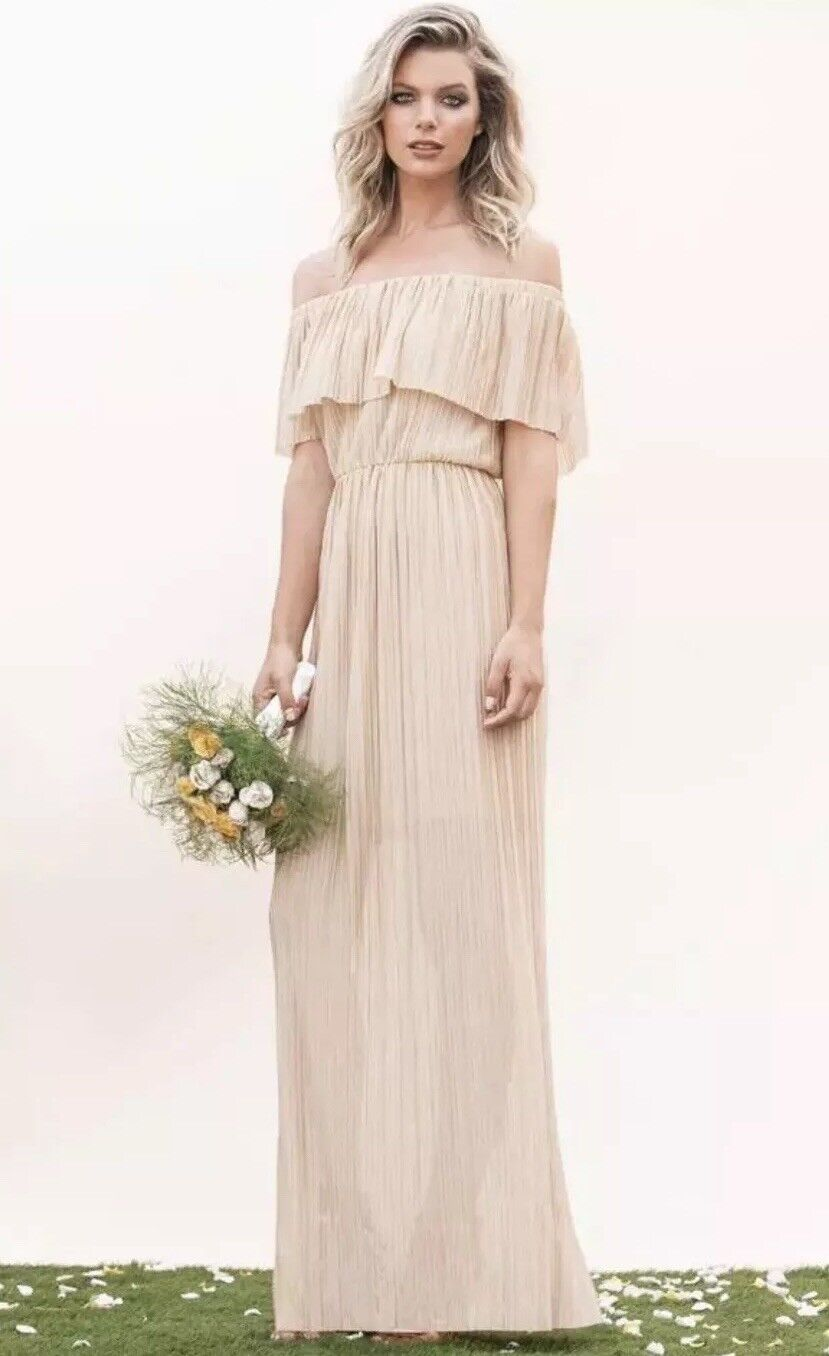 New Dress The Population 'Athena' Off The Shoulder Pleated Dress Large