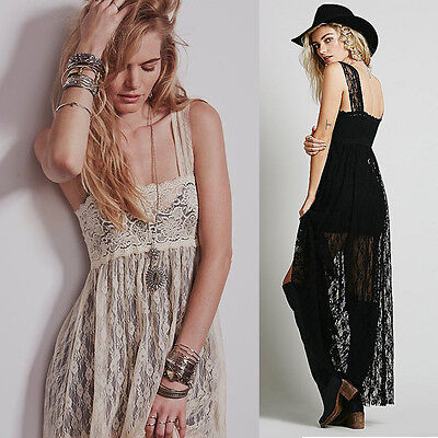 Empire Waist Backless Women's Prom Cocktail Evening Party Club Maxi Lace Dress