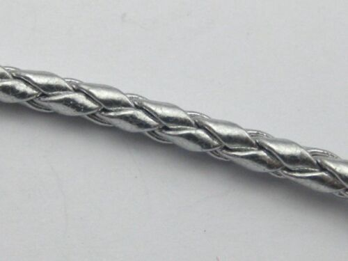 16.4 Feet Silver Round Braided Bolo Synthetic Leather Jewelry Cord String 4mm