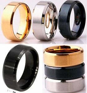 8mm-Silver-Gold-or-Black-Plated-Mens-Wedding-Ring-Womens-Band-M-to-Z-4-6-to-14