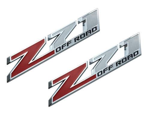 2x 10 Inch Z71 Off Road Emblems Badge for GMC Chevy Silverado Sierra Chrome Red