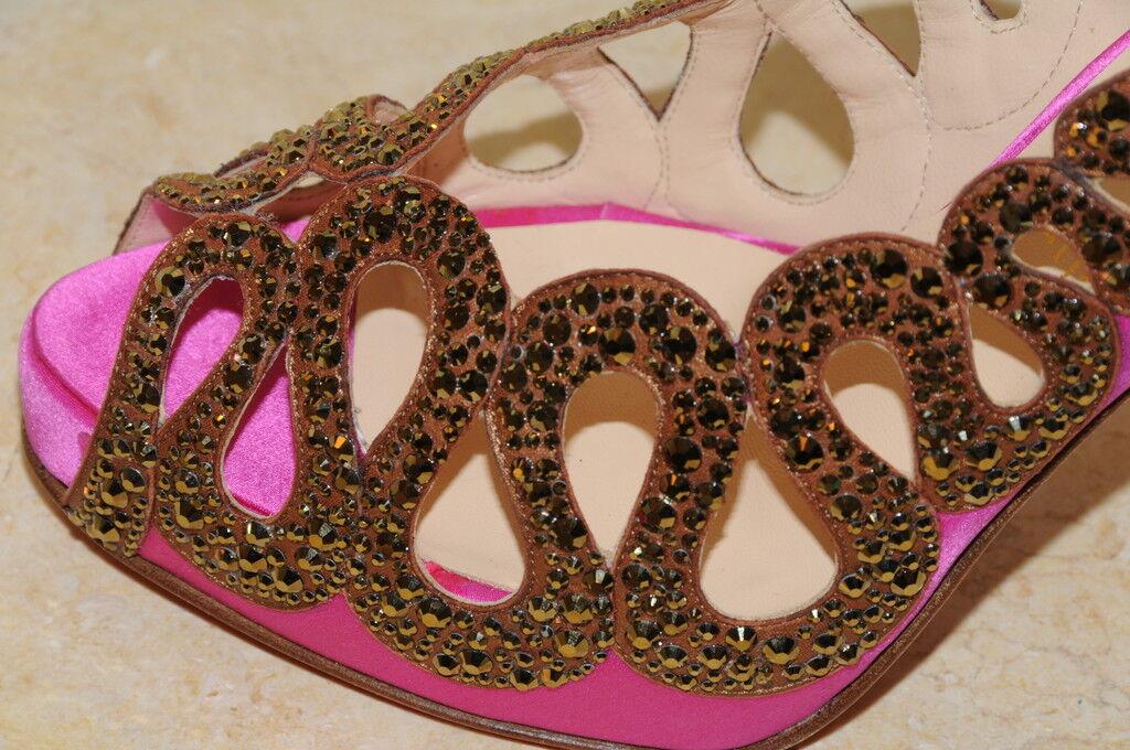 Christian Louboutin Rosa Braun Strass Dorado 120 Schuhe Kristallen 40.5 10