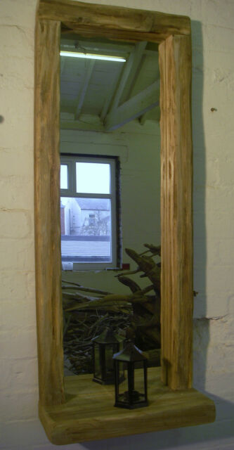 Tall Solid Reclaimed Rustic Driftwood wooden mirror with shelf salon / home