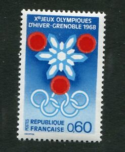 Timbre-neuf-FRANCE-TB-YT-n-1520-Jeux-Olympiques-de-GRENOBLE-1967