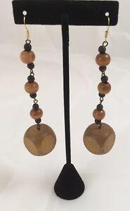 Wooden-Block-Earrings-Beads-Women-039-s-Fashion-Brown-3-5-034