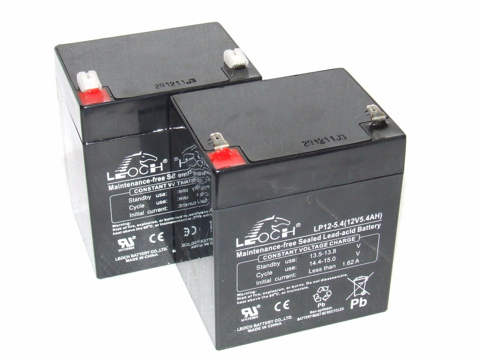 2 (A Pair) X Leoch 12V 5.4AH (Up-rated) BATTERIES for MINI LAKESTAR