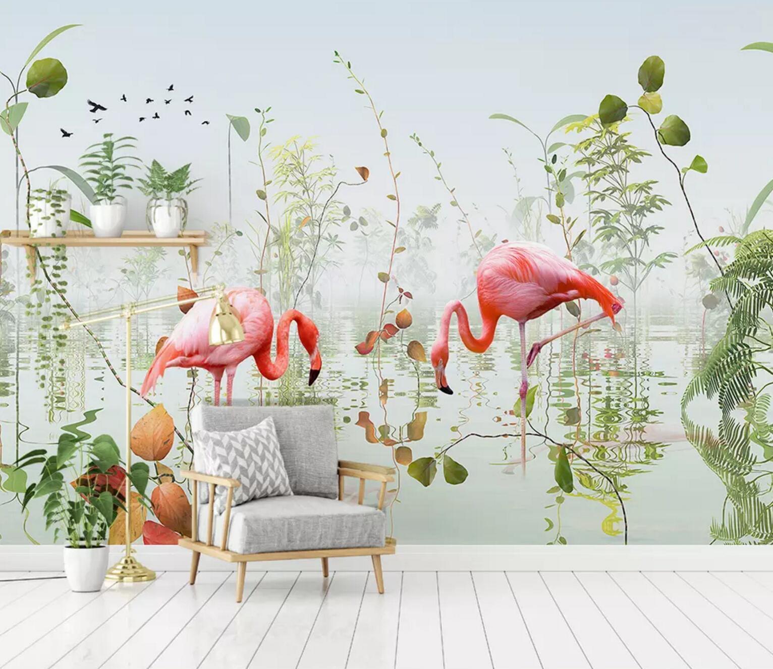 3D Flamingo Gras 964 Mauer Papier Exklusiv MXY Fototapete Abziehbild Innen Mauer