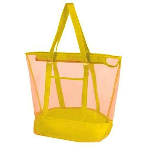 """Vlish Yellow Mesh Beach Bags 21""""x 16"""" Transparent with Double Straps Excell..."""