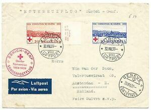 Zwitserland luchtpost Rode Kruis vlucht Zürich Genève 30-8-1939 Airmail Luftpost