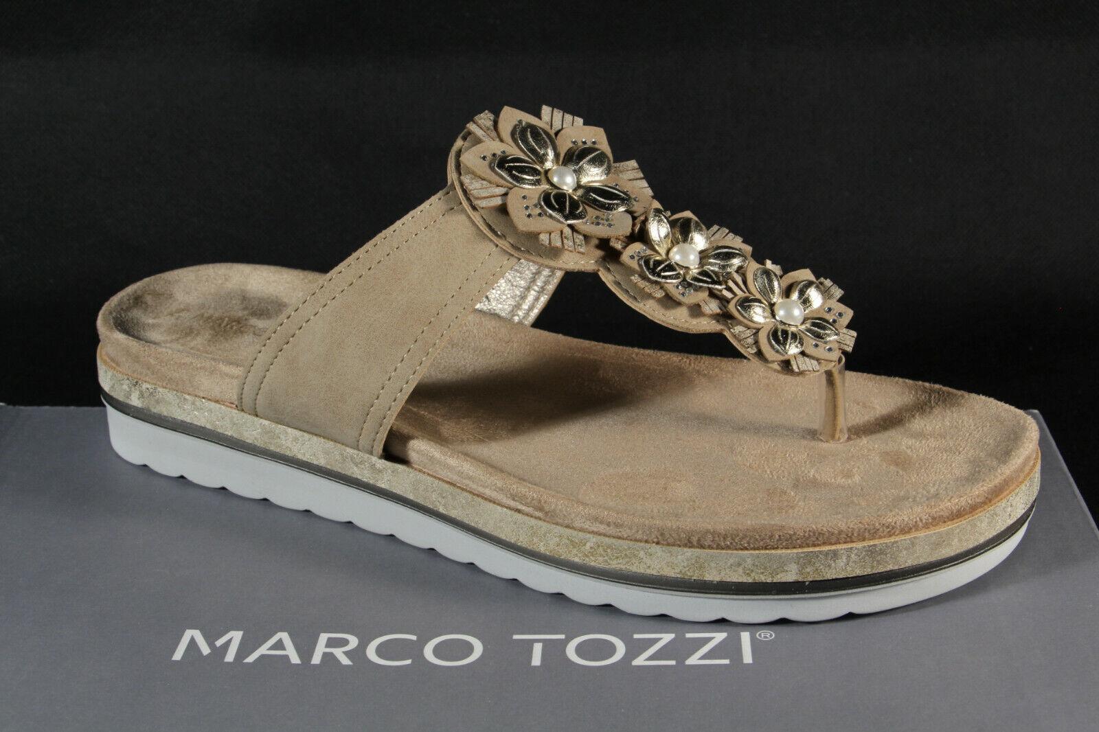 Marco Tozzi Mulas de Dedos Sandalias Pantuflas Beige 27215 Nuevo