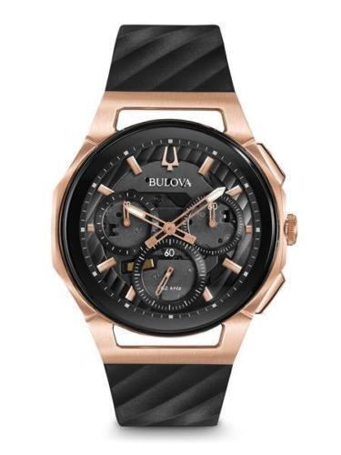 New Bulova Men's Curv Rose Gold and Black Chronograph Black Strap Watch 98A185