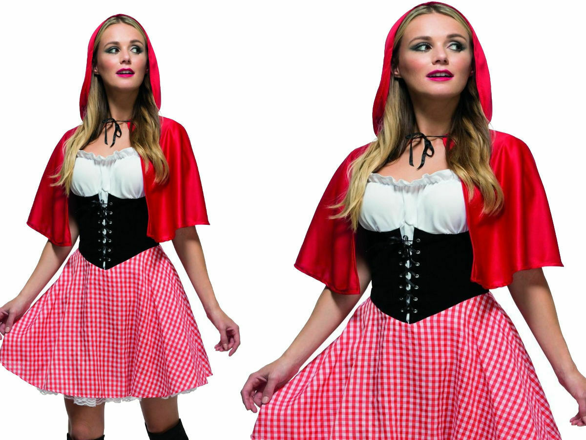Red Riding Hood Costume Fancy Dress Adult Fever S M L BNWT