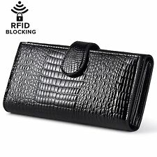 Huztencor Womens RFID Blocking Wallet Classic Long Clutch Wallet Genuine Leather