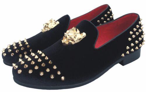 Men/'s Black Spikes Loafers Velvet Dress Shoes Slip-On Gold Buckle Slippers Flats