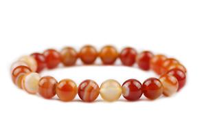 Unisex Bracelet GemstoneOrange  Red Stripe Carnelian Bead Healing Reiki UKseller