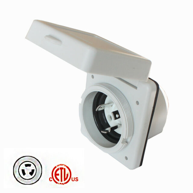 30A Power Inlet Receptacle RV Power Twist Lock Inlet 125V Marine Shore Power Inlet for Camper RV