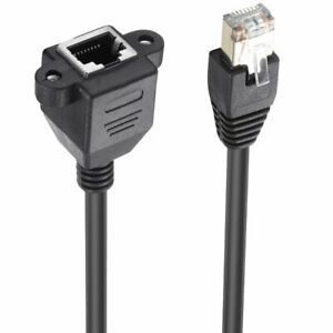 RJ45 Cat6 Male to Female LAN Ethernet Network Screw Panel Mount Extension Cable
