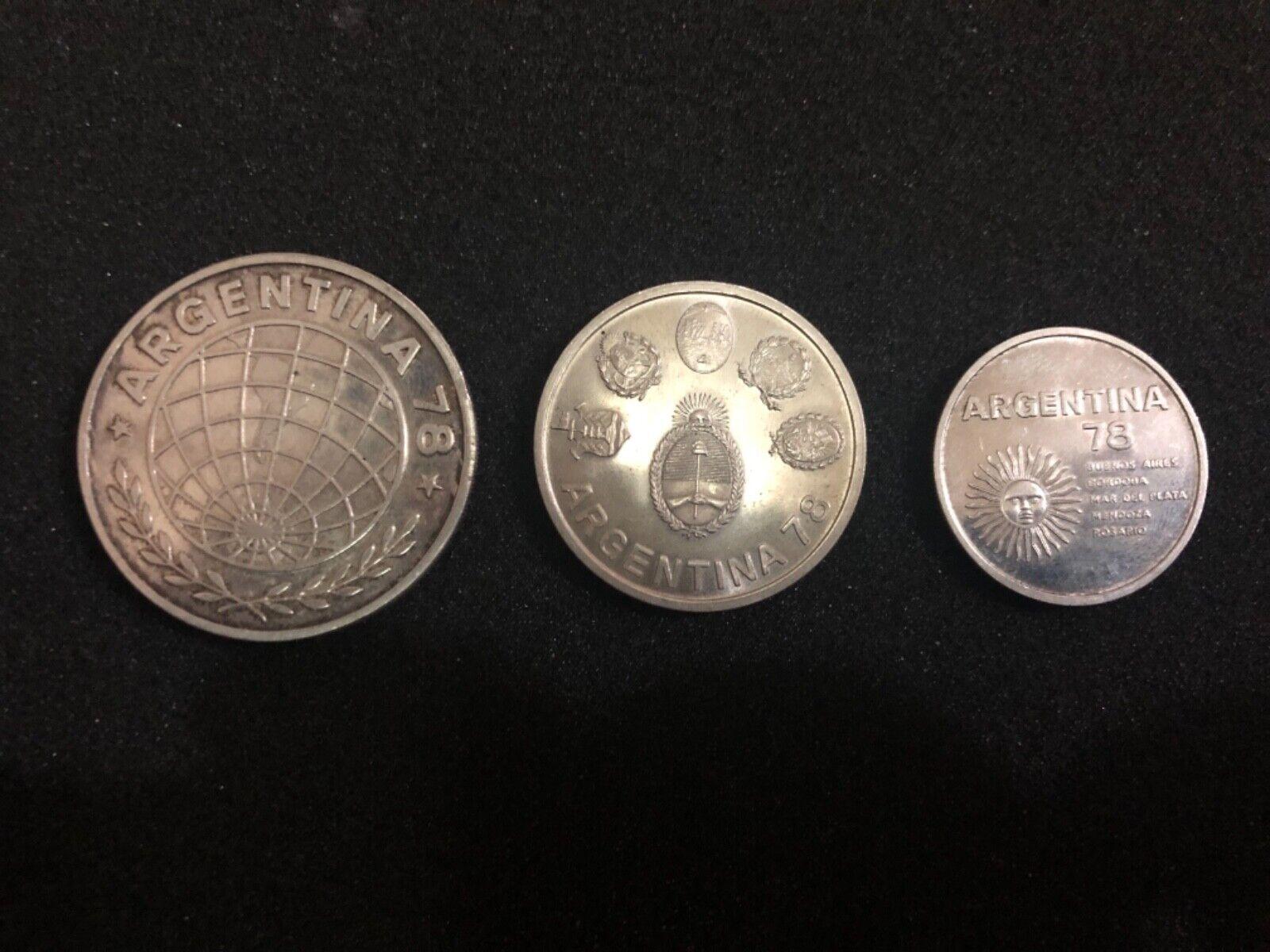 plataina WC 1978 Set 3 monedas de plata ahutectic