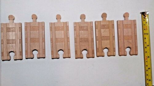 "Genuine Thomas /& Friends Wooden Railway Train Tank 3/"" Straight Track 6 Piece Lot"