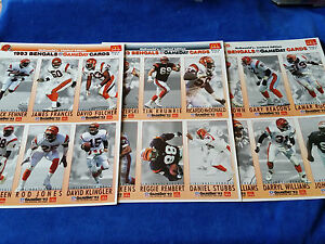 1993-McDonalds-GameDay-Cards-Set-Of-3-6-Card-Pages-Bengals-NFL