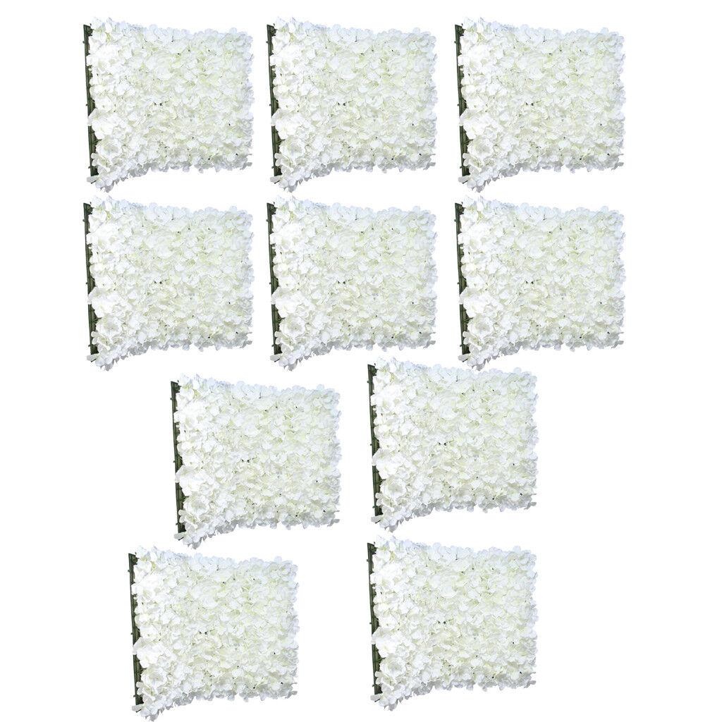 10pcs Artificial Flowers Wall Panel Hydrangea Wedding Venue Home Decor Cream