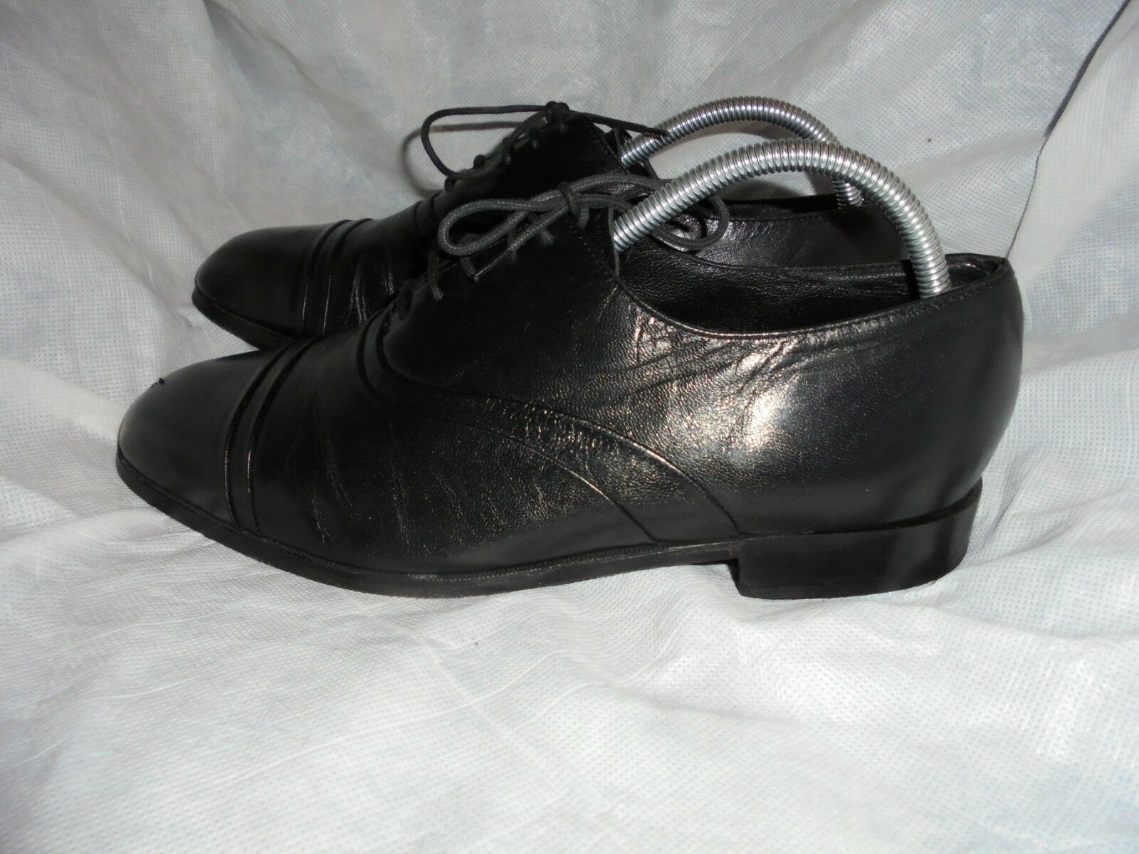 MARKS & SPENCER MENS BLACK LEATHER LACE UP SHOE SIZE UK 9 EU 43 VGC