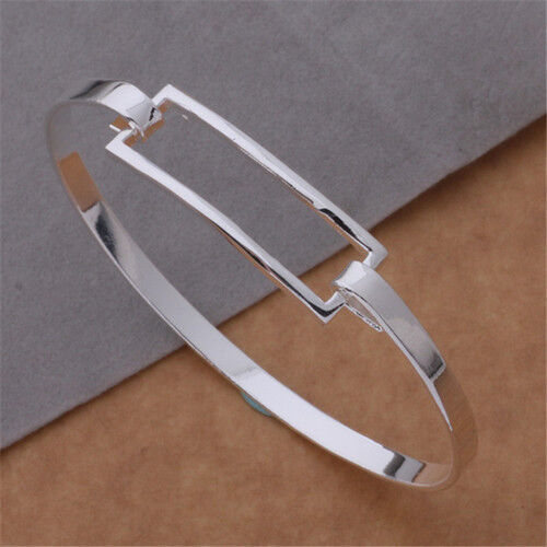 UK HOT wholesale new solid 925sterling silver jewelry bracelet bangle xmas gifts