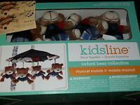 Kidsline Oxford Bears Musical Crib Mobile Plush Blue Red Baby Boy Plaid