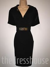 BNWT Savoir Black Sequin Collar Wiggle Pencil Dress Size 20 Stretch RRP £62