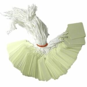 1000 x 54mm x 35mm White Strung String Tags Swing Price Tickets Tie On Labels