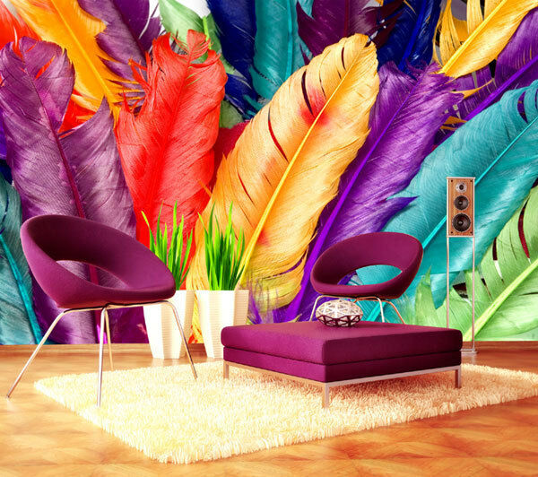 Multi Farbe Dry Feathers Art Full Wall Mural Photo Wallpaper Print Home Dec Kids
