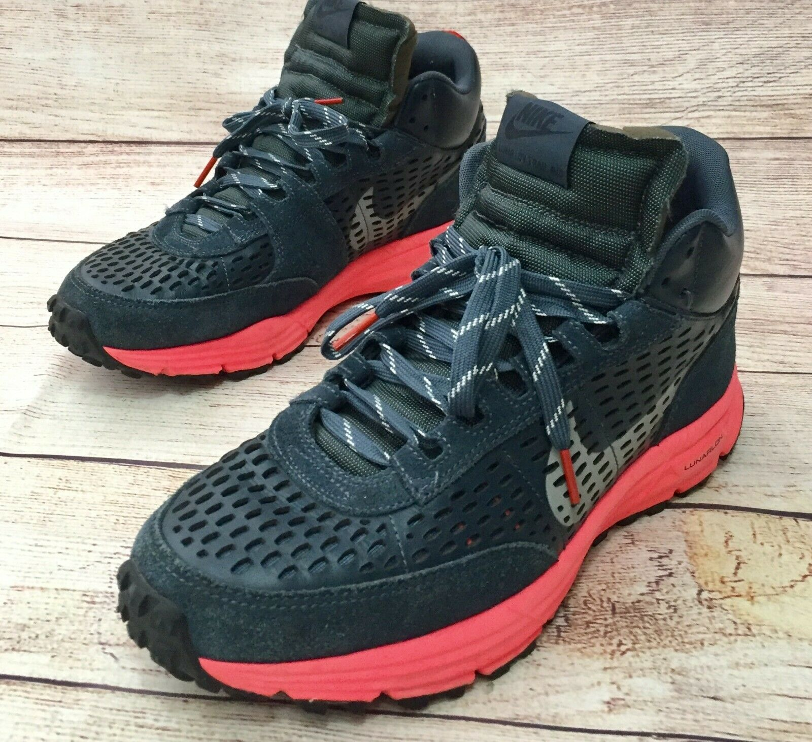 Nike Lunar LDV Trail Mid Mens Sz 10 Hiking shoes Sneaker Boot bluee 599471-404
