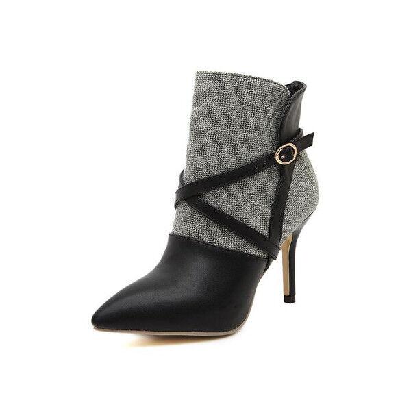 Stiefel Niedrig Stilett Schwarz Grau 10 cm Leder Kunststoff 9620