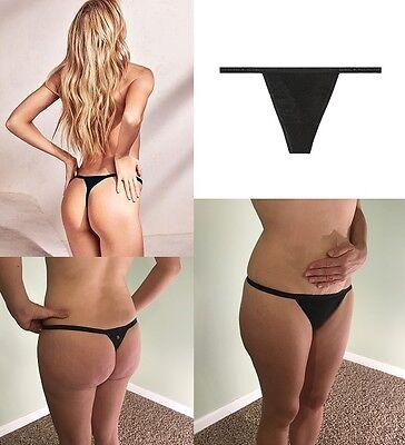 d458af3dc66f6 Sexy Victoria's Secret Pink G-String V Thong Tanga Tiny VS Panties Black XS  S M | eBay