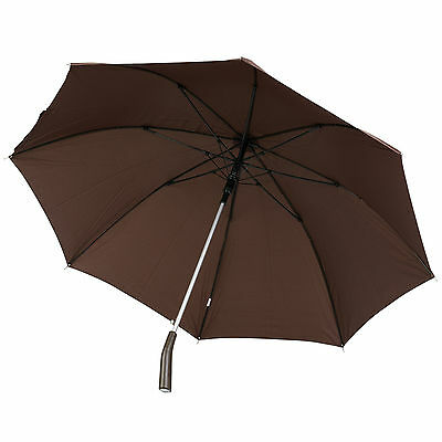 Egronomic PU Leather Handle Automatic Opening Umbrella Rain Walking Stick Brolly