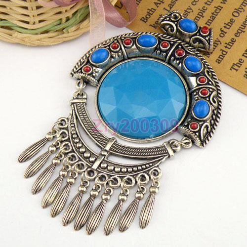 1Pcs Tibetan Silver Craft Charms Pendants 110x66mm KA112