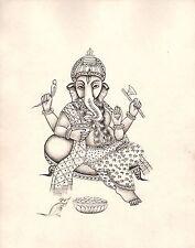 Ganesha Painting Handmade Indian Hindu God Ganesh Ethnic Religion Ink Sketch Art