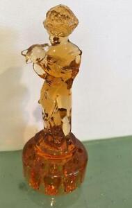 Cambridge Glass Vtg Two 2 Kids Flower Frog Boy Goat Honey Amber Deco #509 EXC