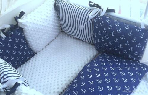 white Minky Dipmle Navy Anchors Sleepy Baby J/&J 6 pillows bumper!